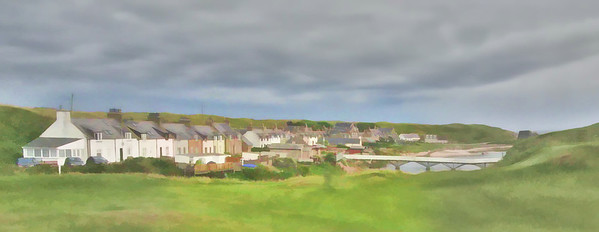 The village of Cruden Bay. The original was taken with an unfortunately low resolution, but the processing has perfectly captured the feel of the place.  The location from which this photo was shot can be found by copying  57.416069,-1.849077 and pasting it into Google maps.