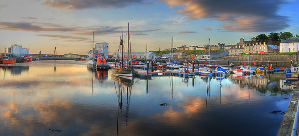 The harbor at dawn in Wick, in far northeastern Scotland.  To find this location, copy     58.44056,-3.086659     and paste into google maps.